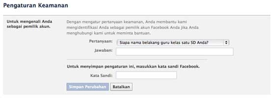 set up facebook account security question